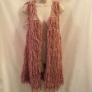 Xhilaration Pink Blush Open Knit Fringe Vest